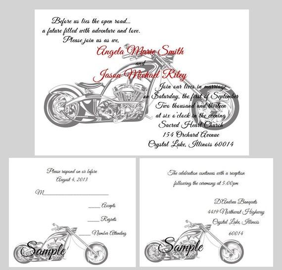 100 personalized custom harley davidson motorcycle wedding, Wedding invitations