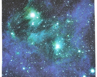 Astronomy Fabric Bright Lights Blue Green 17 x 17 inches on Cotton Sateen Fabric