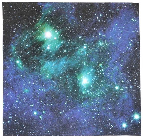 astronomy fabric bright lights blue green 17 x 17 by