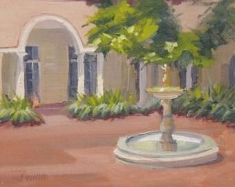 Los Gatos - Courtyard - Original Oil Painting - California - Fountain - Aches - Mission - Peaceful - Calm