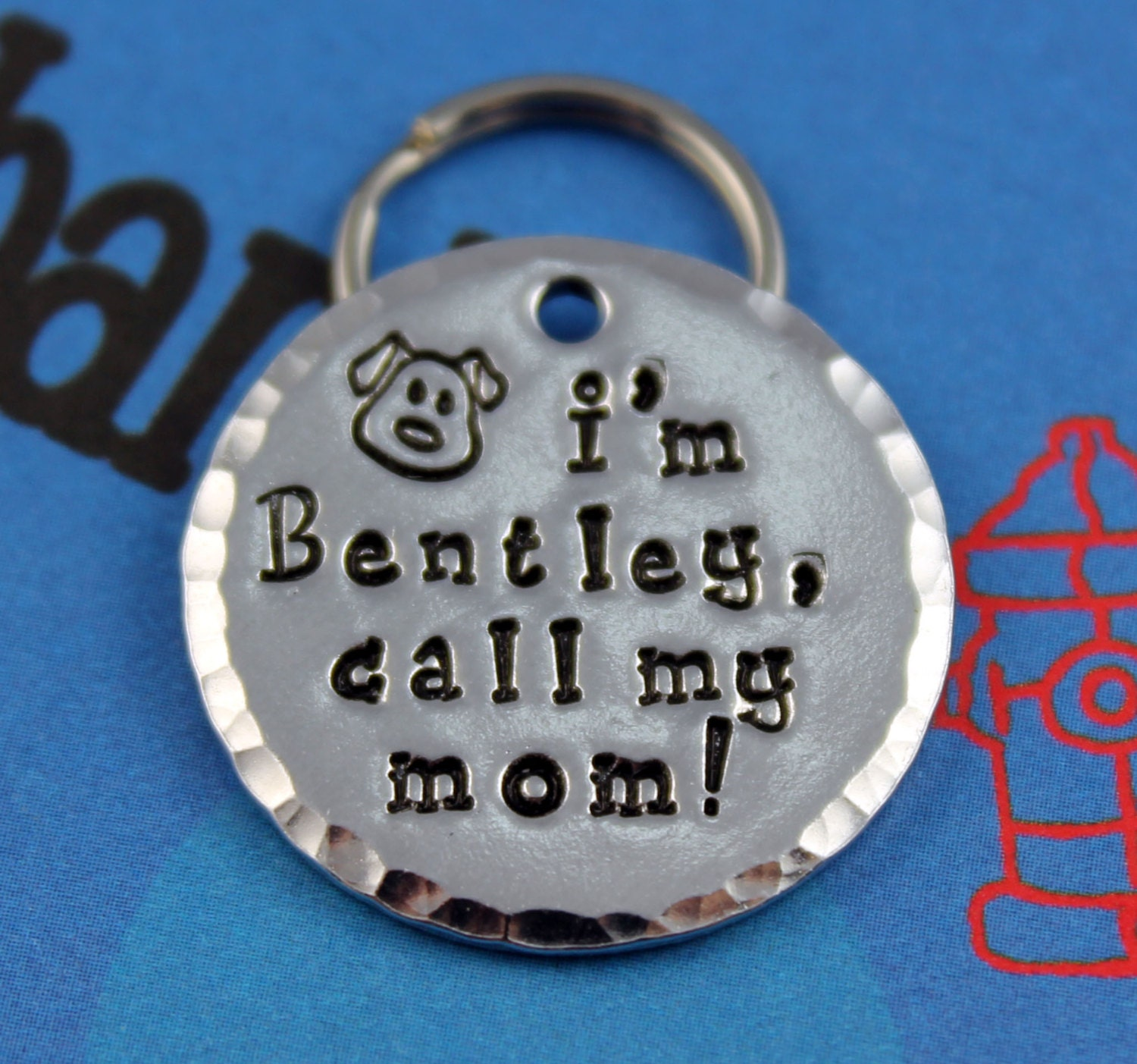 Handstamped Aluminum Pet Id Tag Personalized By Critterbling