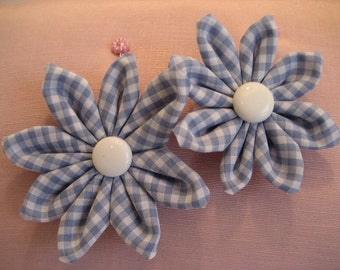 Folded Fabric Flower Set of Two