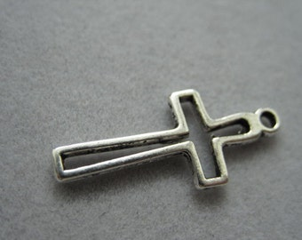Open Cross charm, Antique Tibetan silver tone cross charm, 23mm x 11mm, 8pc, B-020