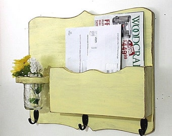 Large Mail Organizer, shabby chic, floral vase, mail holder, key hooks, mail holder,  distressed, vintage, home decor,painted Earthly Yellow