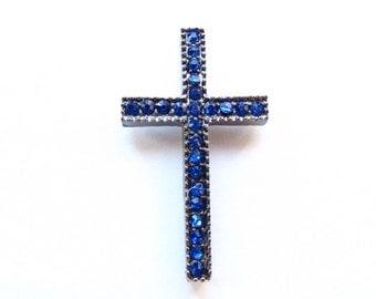 1 Rhinestones Cross Connector, Sideways Cross, Basketball Wives Blue, Gunmetal 40mm