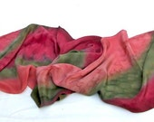 SILK SCARF Hand Painted in Pink, Red, Olive Green, OOAK Silk Crepe de Chine