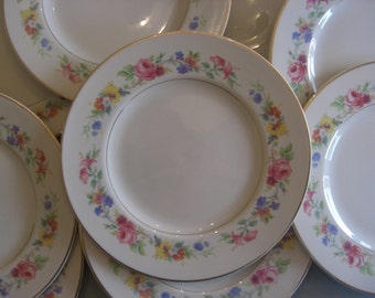 Syracuse China Old Ivory Virginia Shape - Cliftondale Pattern - Luncheon Dinner Plates - Set of 6