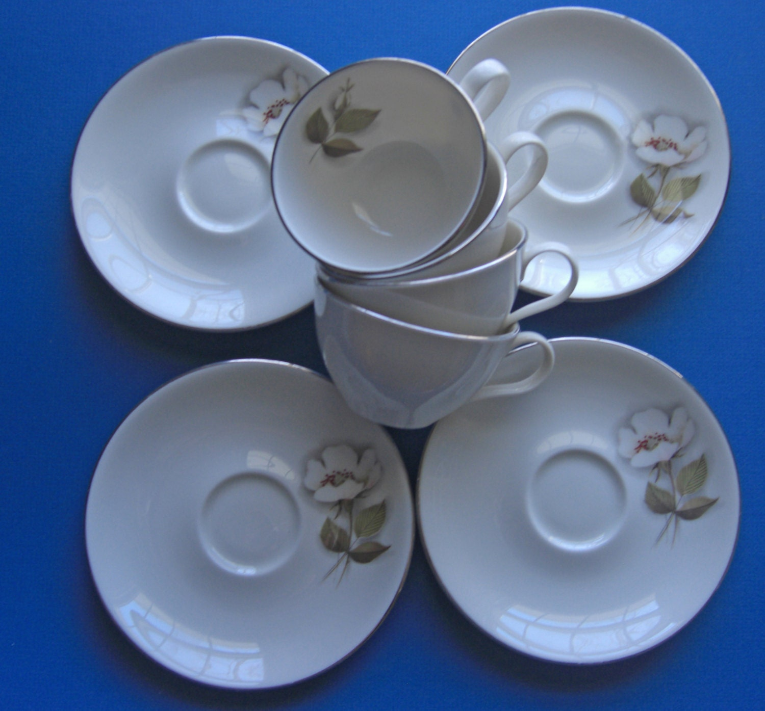 Nancy prentiss china ivory rose pattern set of 4 cups and for Alpine cuisine fine porcelain