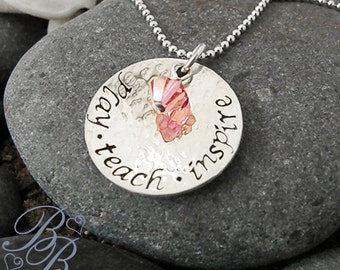 Personalized Jewelry - Teachers's Necklace - Hand Stamped Jewelry - Teacher's Gift