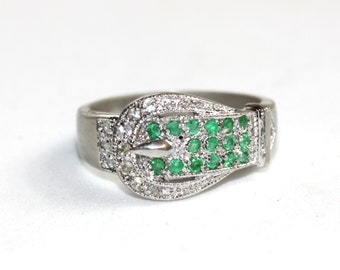 Vintage buckle ring with natural emeralds and genuine diamonds in sterling silver