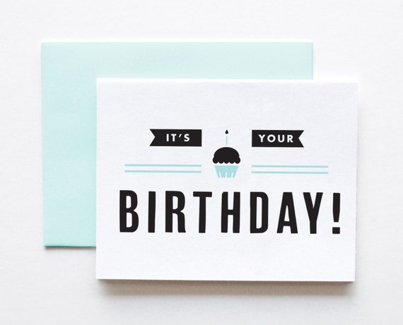 its your birthday happy birthday card modern by thepapercub. Black Bedroom Furniture Sets. Home Design Ideas