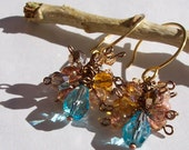 wire wrapped cluster earrings with swarovski crystal, czech glass beads, and fire-polished beads