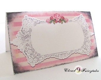 Pink Tented Place Cards Wedding Placecards Sweet Shabby Chic Roses Vintage Garden Wedding Set of 50