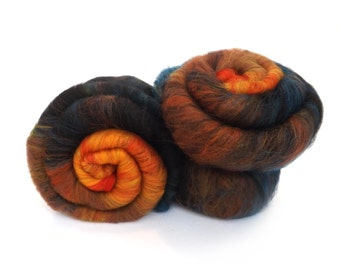 Batt -  Orange - Teal - Merino wool - Tussah silk - Spinning - Felting - 100g - 3.5oz - ROOSTER