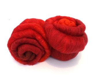 Spinning Batt - Merino - Tussah Silk - Red - 100g/3.5oz     ROJO MOJO