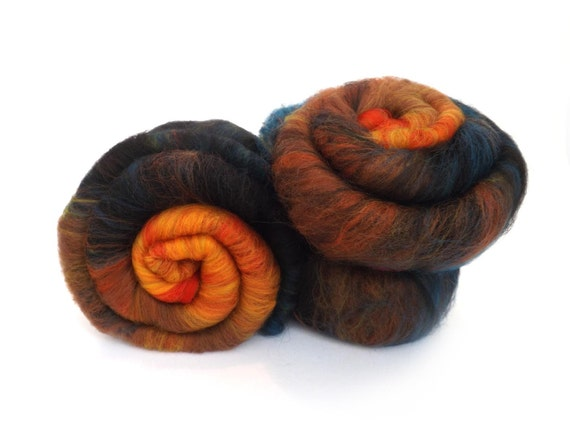 Batt -  Orange - Teal - Merino wool - Tussah silk - Spinning - Felting - 100g - 3.5oz - ROOSTER