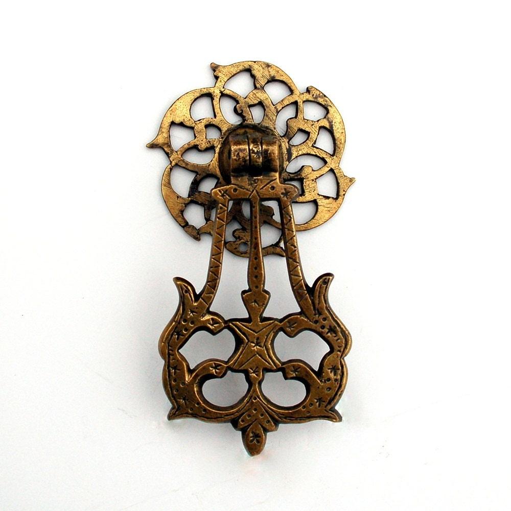 Antique Moroccan Pendant Door Knocker Brass Moorish