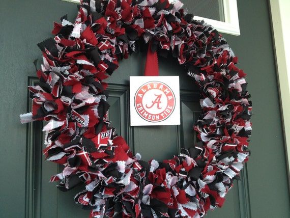 University Of Alabama Wreath Roll Tide Crimson Tide Fabric