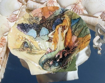 Mermaid Sea Shell Jewelry Trinket Dish