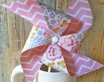 Pinwheels - One Fine Day - Floral Pink Chevron Patterned Pinwheels - Party Favors Wedding Decor - Rustic Vintage Shabby Chic Wedding