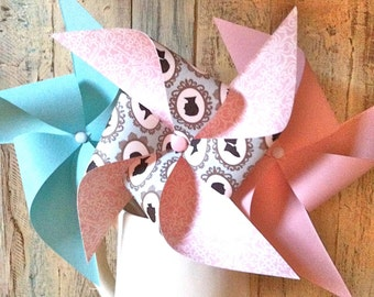 Pinwheels - Silhouette Collection - Mint and Pink Pinwheels with Silhouette Theme - Bridal Shower - Wedding Pinwheels - Silhouette Theme