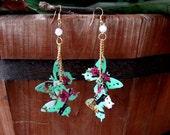 Recycled AriZona Green Tea Butterfly Earrings