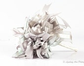 Platinum Silver Ribbon Bouquet  'Throw Bowquet'  **Made to Order**