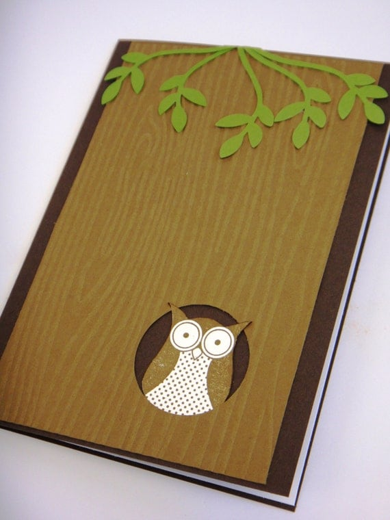 Items similar to Handmade greeting card blank - owl in tree - cute hand stamp...