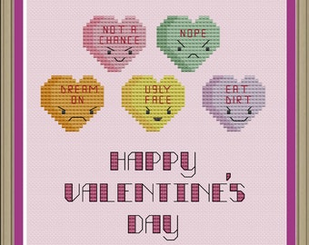 Mean conversation hearts: funny Valentine's Day cross-stitch pattern