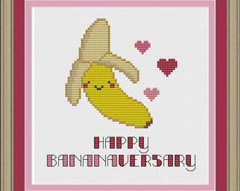 Happy bananaversary: cute banana cross-stitch pattern