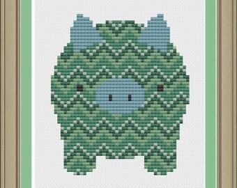 Chevron stripe pig: cute cross-stitch pattern