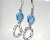 Hammered Silver Jewelry, Blue Swarovski Crystal Earrings, Beaded Jewelry, Aquamarine Earrings, Silver Dangle, Long Silver Earrings