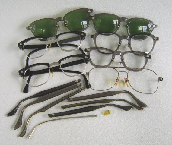Vintage Eyeglass Parts Frames Sunglasses Repair Lot