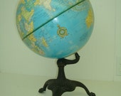 1960's Cram's Imperial World Globe on Antique Cast Iron Tri Footed Stand