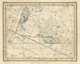 Astronomy, Vintage print, Stars, Constellation of the Pisces, 60