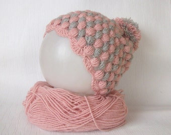 Pale pink and Gray Baby Hats-POMPOM Newborn Hat -Newborn Baby  Beanie-Newborn baby hat-Baby girl  hat