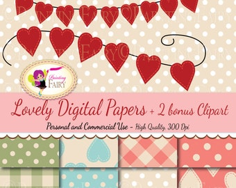 Digital scrapbooking paper pack Valentine's Day Hearts buntings clipart Love elements Lovely Polka dots Decoration Scrapbooking pf00055-3