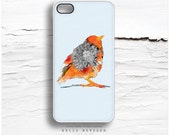 "iPhone 5C Case ""Orange Bird"" by Iveta Abolina, TOUGH iPhone 5s Case Floral, iPhone 4 Case, iPhone 4s Case, Bird iPhone Case, iPhone Cover I5"