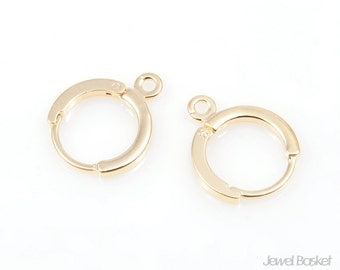 Round clip Earhook - 8pcs Gold Plated Round Clip Earhook 12mm - Handmade earrings supply item - Brass / PG006-E