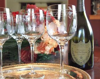 Vintage Wine Glasses Set Crystal Etched Toscany Handblown Wine Glasses Glassware - Set of 5 -  Wedding Gift - Housewarming Gift