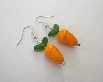 Carrot Glass Lampwork Beads on Silver Earwires, Easter Jewelry, Spring Earrings, Summer Vegetables