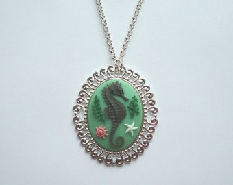 Nautical Seahorse Cameo Necklace on Bright Silver Tone Necklace Unique Jewelry, Marine Mint Green