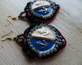 Nautical, handmade soutache earrings. Vegan friendly.