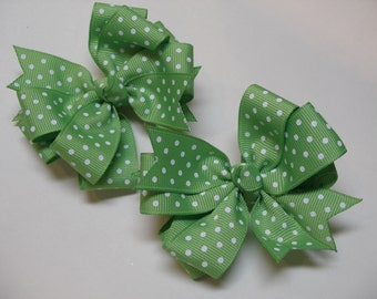 TWO Spring Green white Swiss Polka Dot Pig Tail Toddler Girl Grosgrain Hair Bows 2 piece set