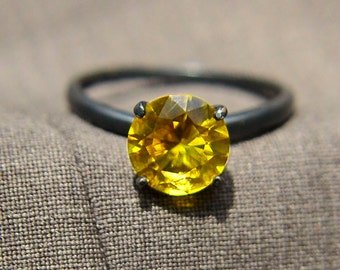 Sterling Silver Ring with Golden Topaz, Golden Topaz Cocktail Ring, November Birthstone, Bridesmaids Gifts