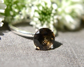 Silver Ring with Smoky Quartz Gemstone, Quartz Ring in Sterling Silver, Bridesmaids Gifts