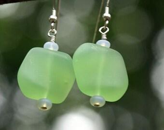 Sea Glass Beaded Earrings in Light Green