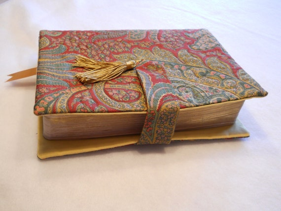 Quilted Fabric Book Cover : Quilted fabric bible book cover with velco closure tab