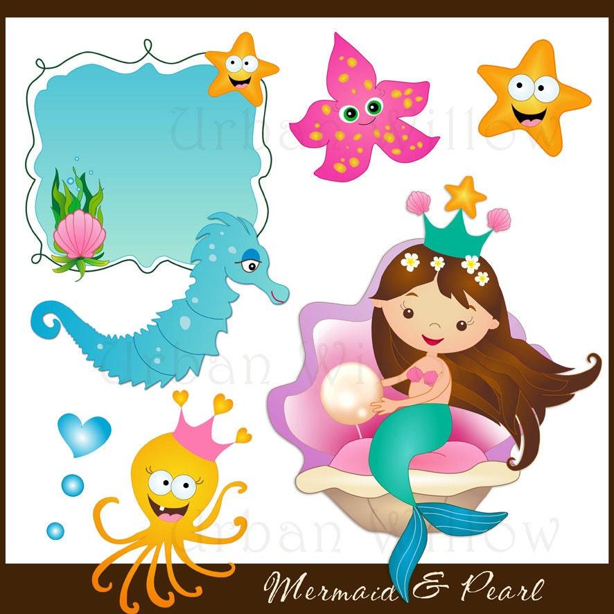 MERMAID Clipart Seahorse Digital Clipart Graphics Starfish