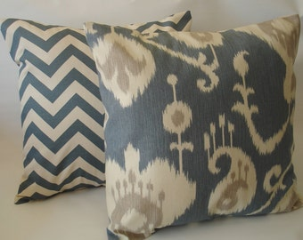 Blue  THROW PILLOWS  Two 20 x20  Decorative Throw Pillow Cover Two Ikat Chevron Accent Pillow Decorative